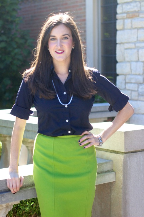 Lime Green Pencil Skirt Navy Blouse