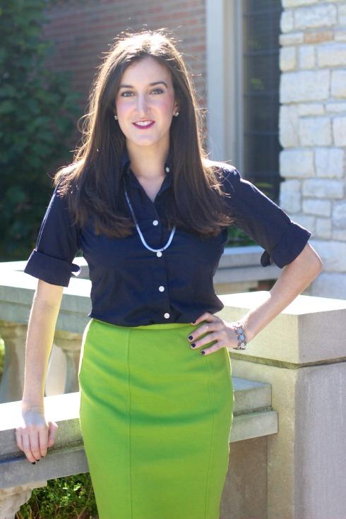 Lime Green Pencil Skirt Navy Blouse
