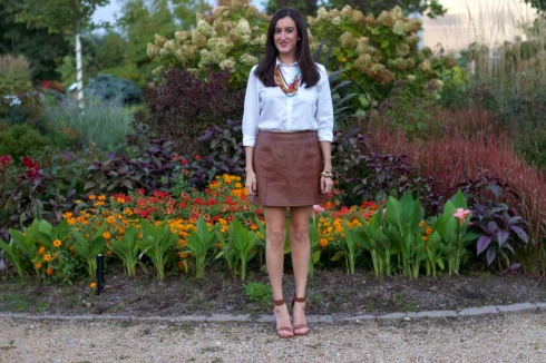 MM Couture Brown Leather Skirt with White Blouse