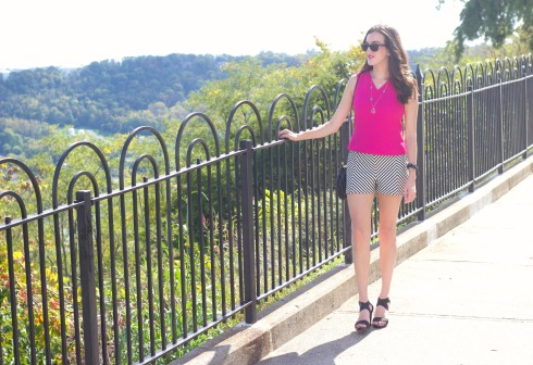 Pink Sleeveless Top with Chevron shorts