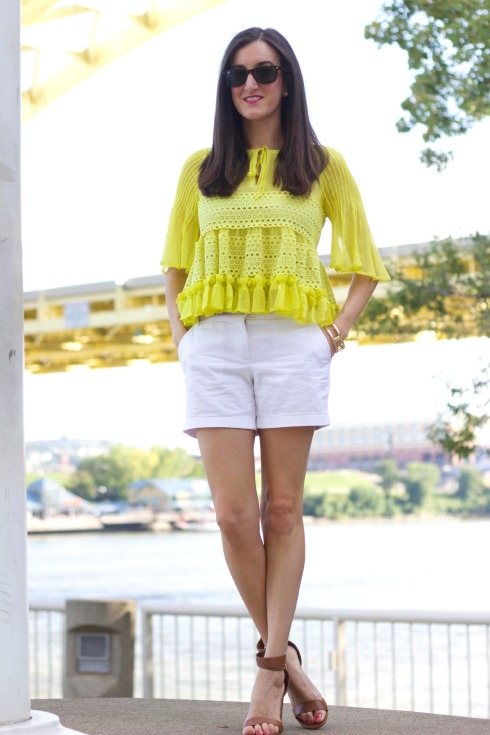 Ruffled To Be Adored Yellow Top with Bell Sleeves