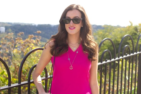 Silky Hot Pink Top with Silver Peace Sign Necklace