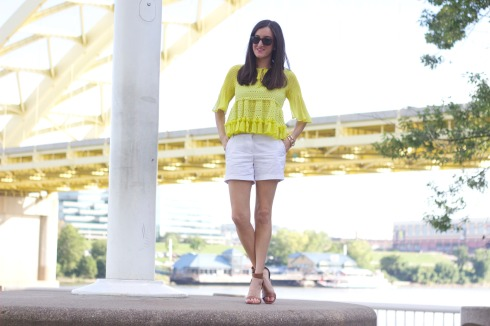 White Shorts with Yellow Ruffle Top