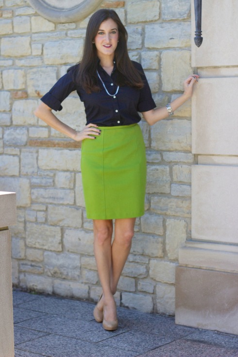 Vintage Lime Green Pencil Skirt