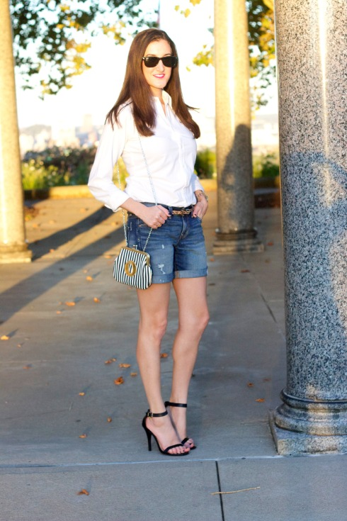 White Blouse with Denim Shorts
