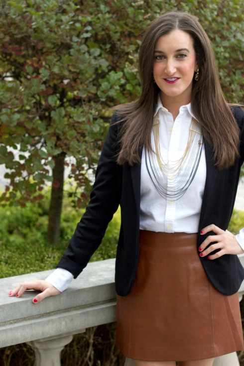 Black Blazer with Brown Leather Skirt