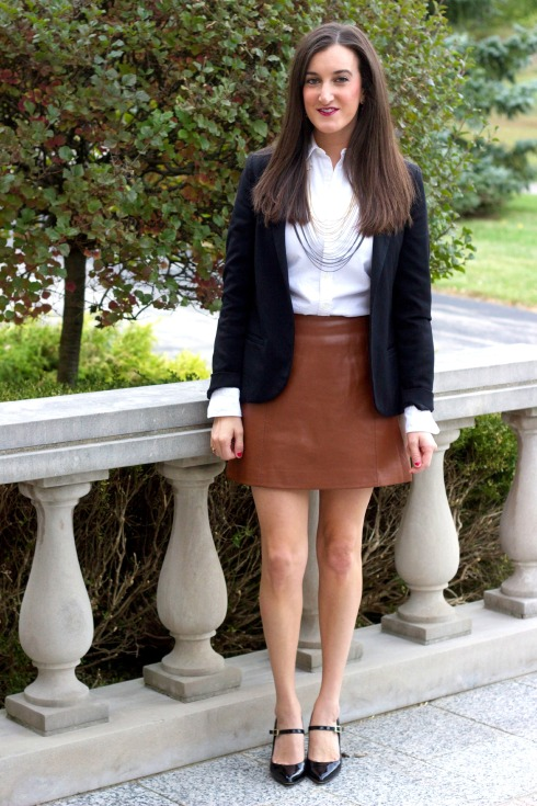 Brown Leather Skirt Feminine Outfit
