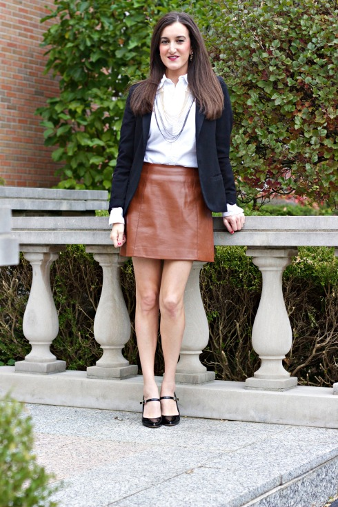 Fall Outfit with Brown Leather Skirt