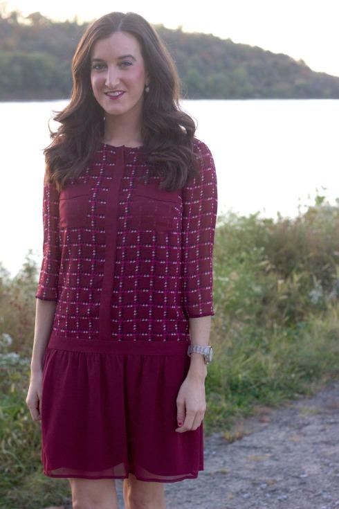 Checkered Maroon Silk Dress