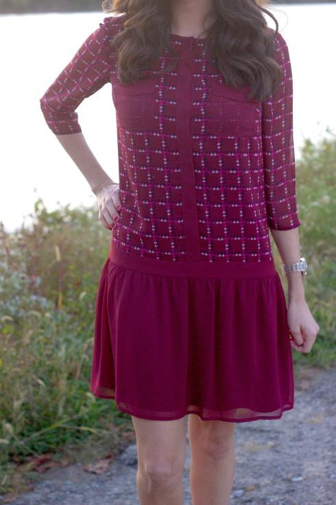 Cremieux Maroon Fall Drop Waist Dress