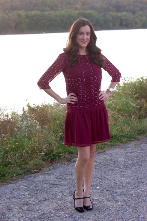 Drop Waist Maroon Dress Fall Fashion