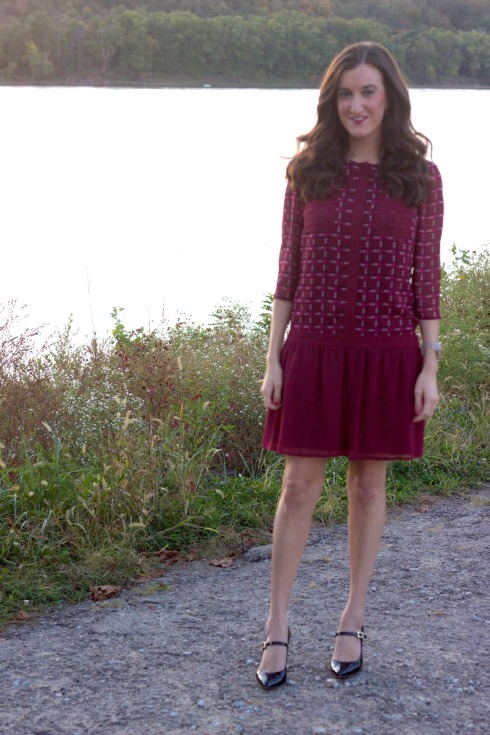 Maroon Drop Waist Long Sleeve Dress
