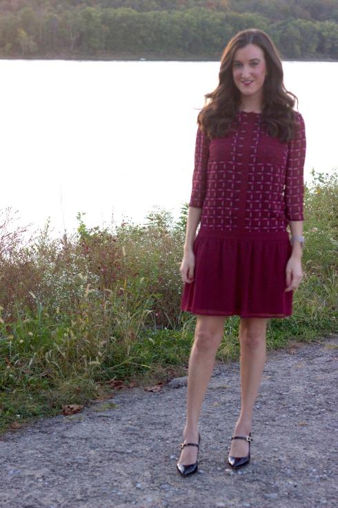 Maroon Drop Waist Long Sleeve Dress