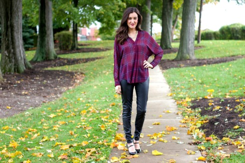 Silky Plaid Shirt with Black Leather Pants