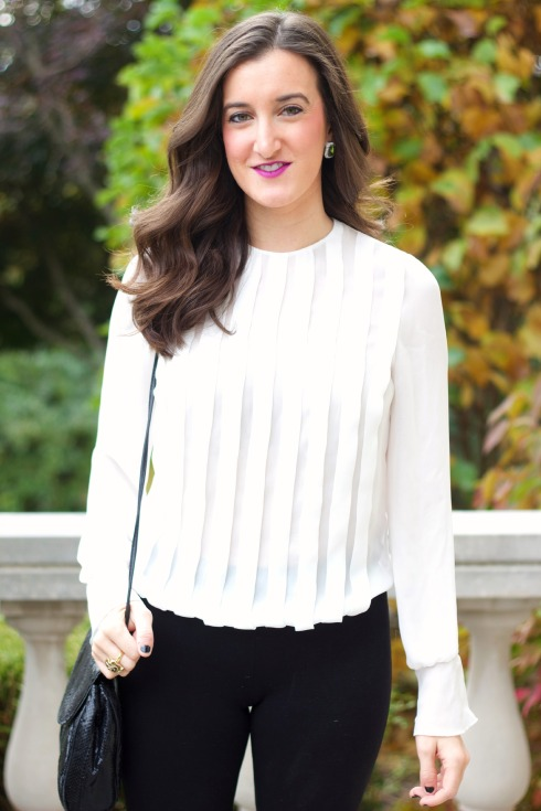 White Pleated Blouse with Bell Sleeves