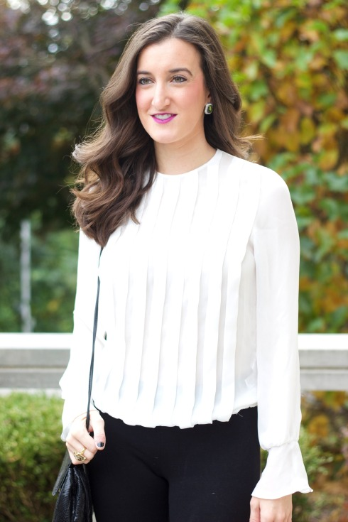 Zara White Blouse with Green Statement Earrings