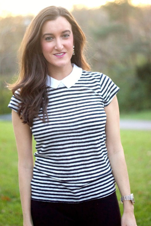 Ann Taylor Striped Shirt with Collar