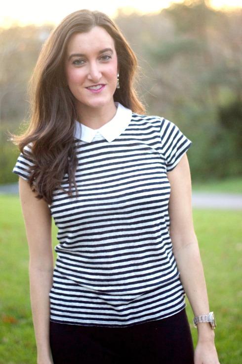 Ann Taylor Striped Shirt with Collar