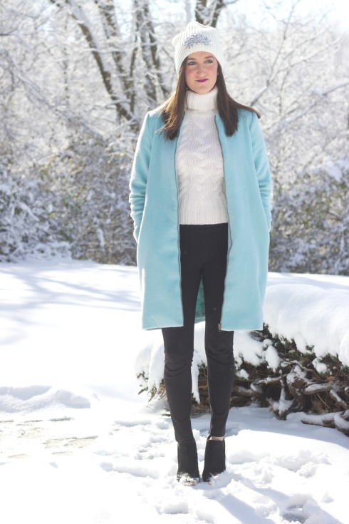 Baby Blue Long Winter Coat