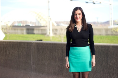 Baby Blue Skirt with Black Sweater