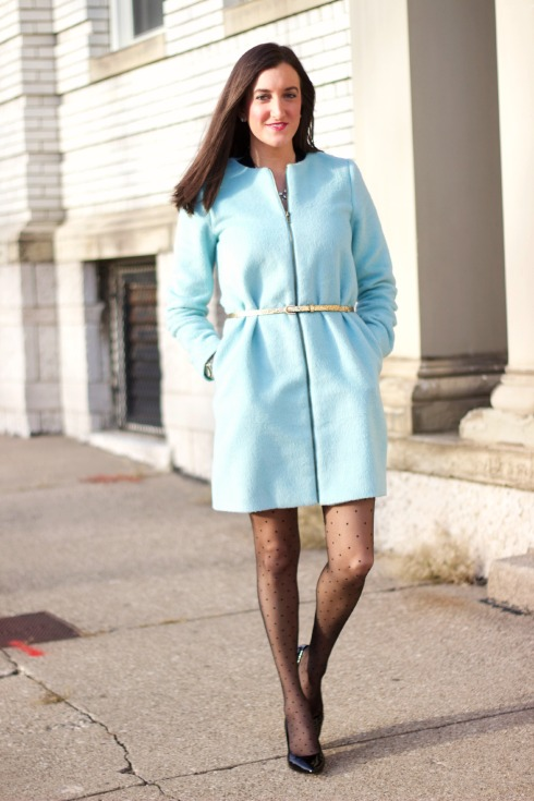 Blue Winter Coat with Polkadot Tights