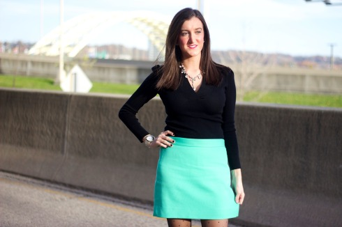 Dressy Winter Outfit with Pop of Color
