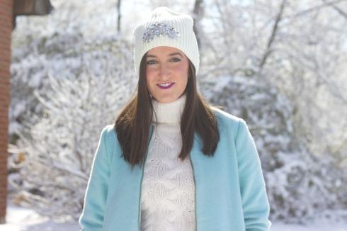 Embellished Winter Hat with Turtleneck