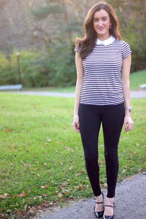 J.Crew Pixie Pants Striped Ann Taylor Shirt