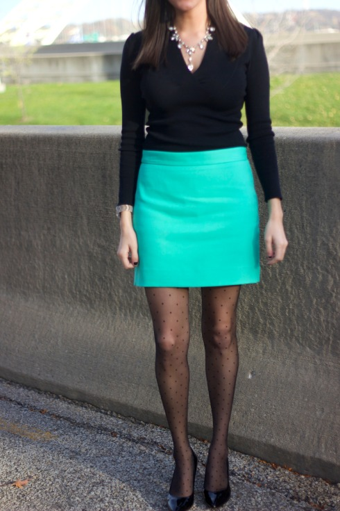 Polkadot Stockings with Blue Skirt