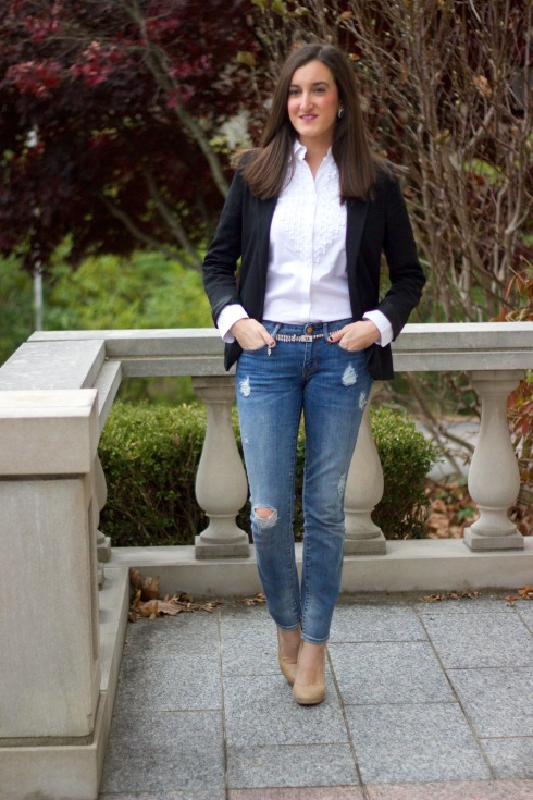 Ripped Jeans with Blazer and Blouse