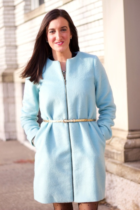 Baby Blue Fuzzy Winter Coat