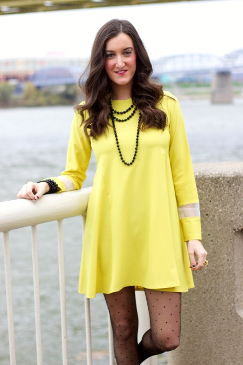 Yellow Long Sleeve Dress with Kate Spade Polka Dot Tights