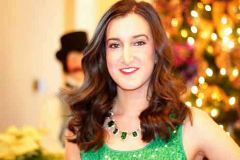 Emerald Statement Necklace with Sequin Dress