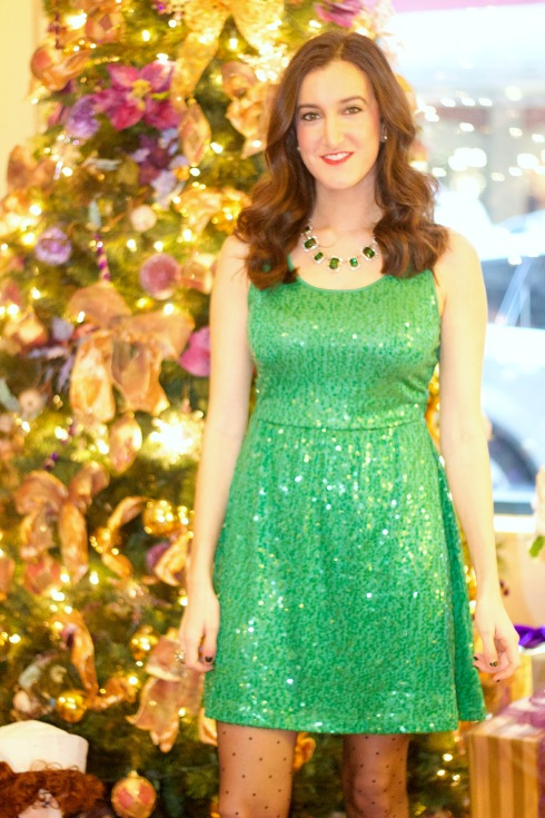 Green Sequin Dress with Polkadot Tights