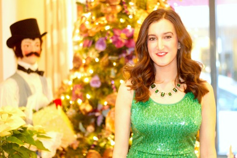 Green Sequin Dress with Baublebar Necklace