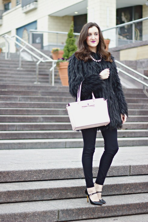 Kate Spade Blush Purse Faux Fur Coat