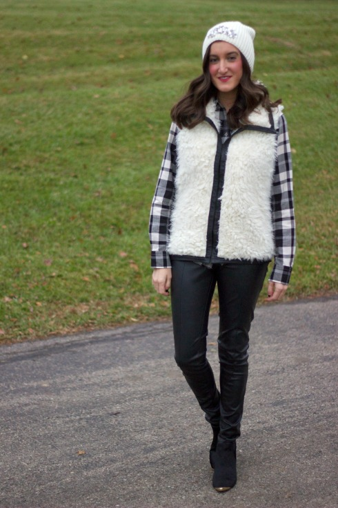 Plaid Shirt with Vest and Leather Pants