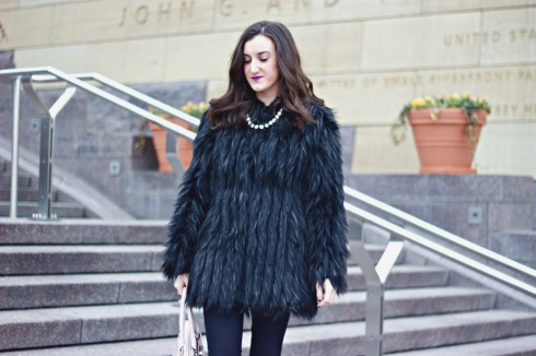 Urbancode Faux fur Black Coat