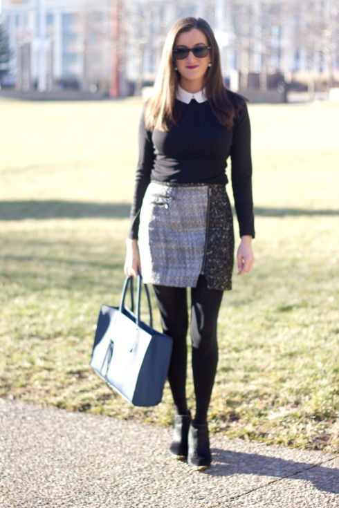 Contrast Collar Shirt with Mini Skirt