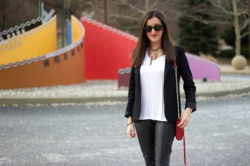 Leather Pants with Blazer