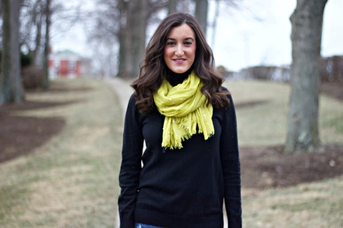 Yellow Scarf with Turtleneck
