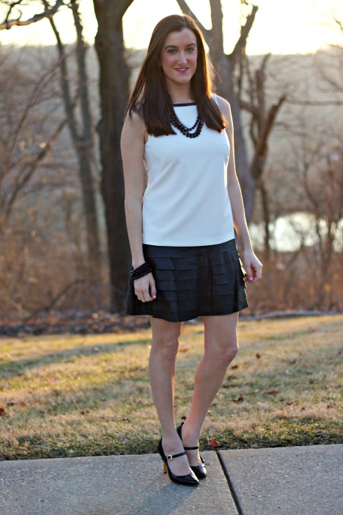 Ann Taylor Faux Leather Tiered Skirt Dress