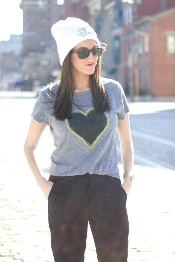 Heart Print Graphic Tee