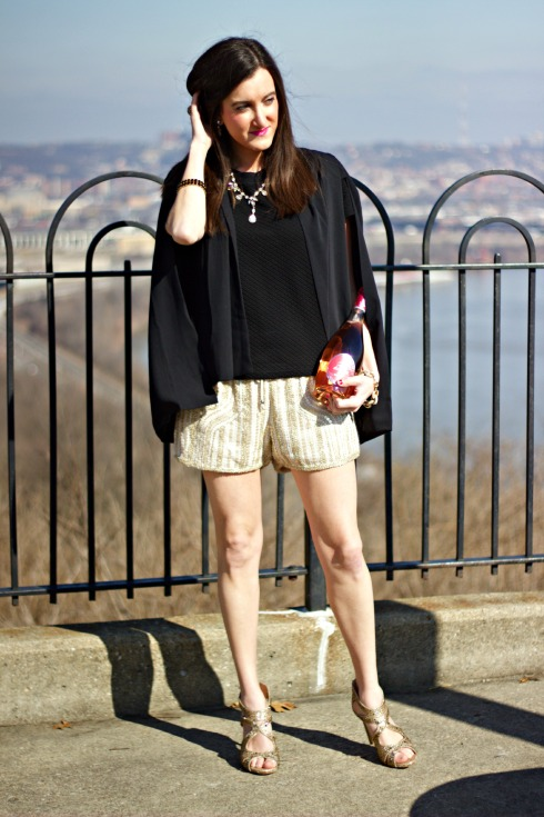 Gold Sequin Drawstring Shorts