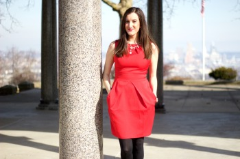 Red Boohoo Dress with Black Tights