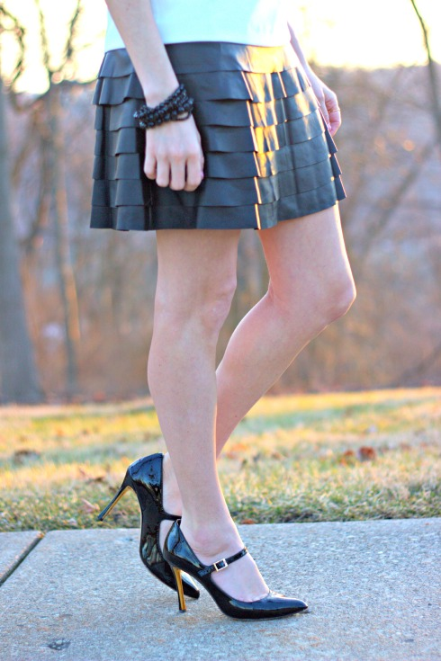 Tiered Leather Dress