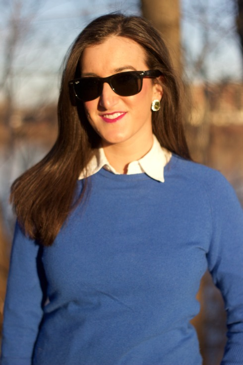 Sweater Layered with Collared Shirt