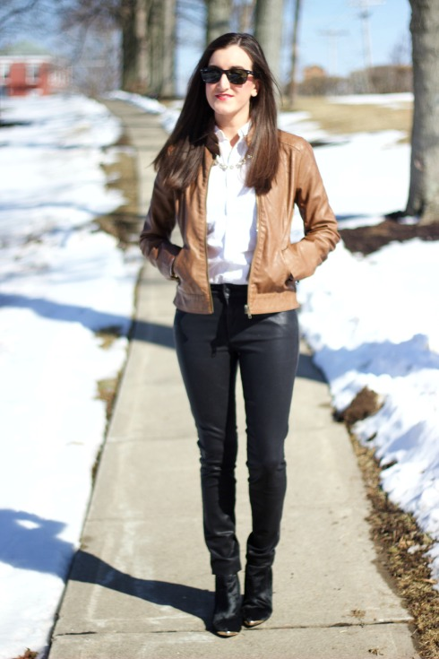 Wax Coated Pants with Brown Leather Jacket