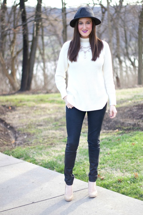 Chunky Sweater with Leather Pants
