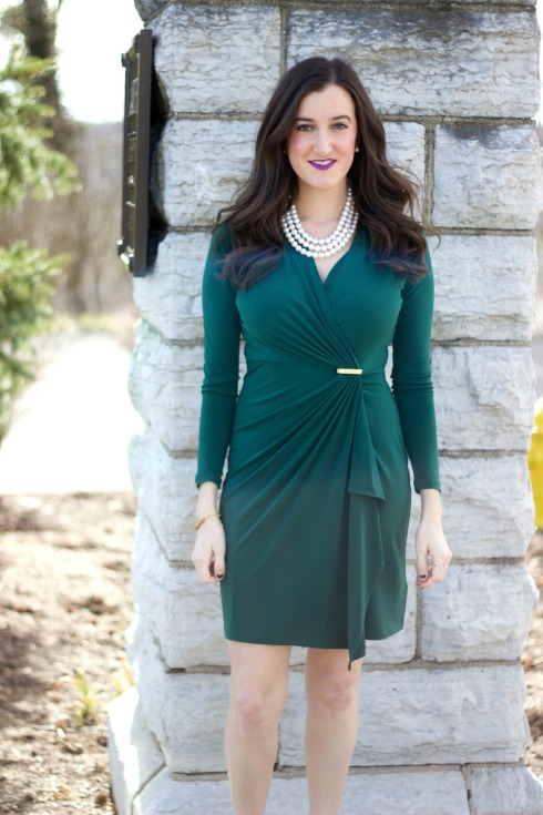 Green Fitted Wrap Dress